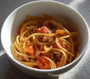 gluten free spaghetti + sauce